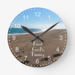 Trust God's Timing Quote Beach Round Clock