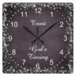 Trust God's Timing Quote Clocks