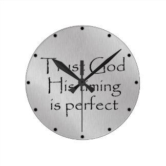 Trust God's Timing Quote Round Clock