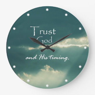 Trust God's Timing Quote with Sunbeams Large Clock