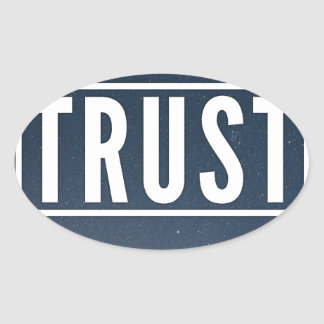 Trust hipster typography oval sticker