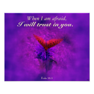 Trust in God Purple Butterfly Christian Poster Posters