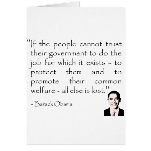 Trust in the government, Barack Obama Greeting Card