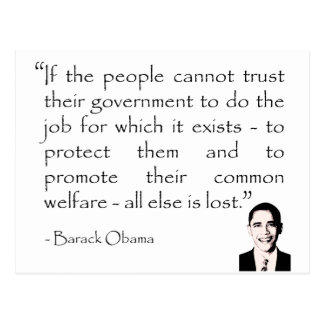 Trust in the government Barack Obama Post Card