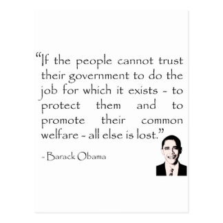 Trust in the government, Barack Obama Postcard