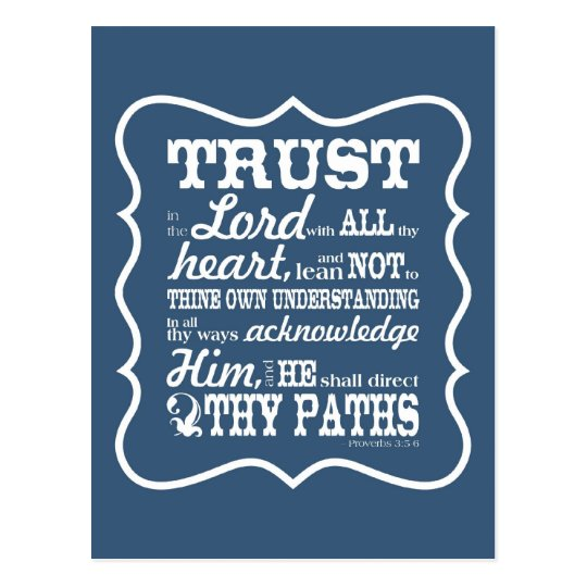 Trust in the Lord -- Blue Postcard