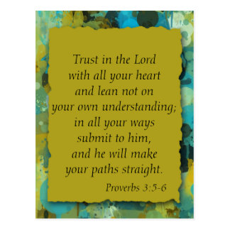 Trust in the Lord, Blue Yellow Green Postcard
