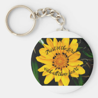 Trust in the Lord Bright Yellow Flower Keychain