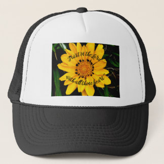 Trust in the Lord Bright Yellow Flower Trucker Hat