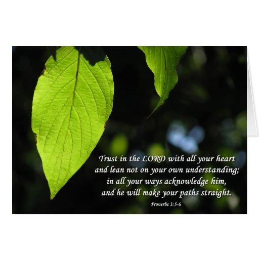 Trust in the Lord Proverbs 3:5-6 Green Leaf Card