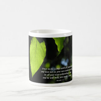 Trust in the Lord Proverbs 3:5-6 Green Leaf Coffee Mug