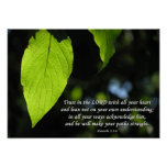 Trust in the Lord Proverbs 3:5-6 Green Leaf Posters