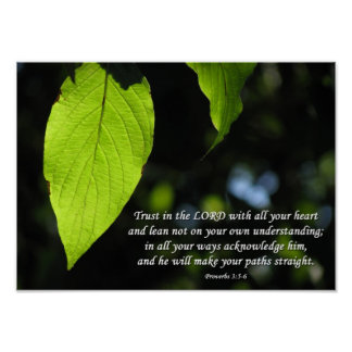 Trust in the Lord Proverbs 3:5-6 Green Leaf Poster