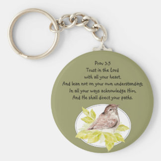 Trust in the Lord Scripture with Watercolor Bird Keychain