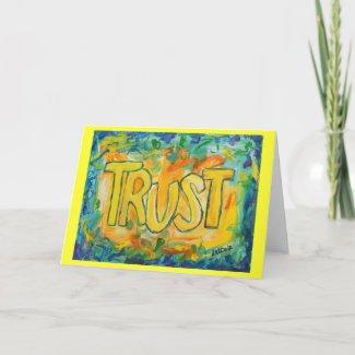 Trust Inspirational Word Art Greeting Cards
