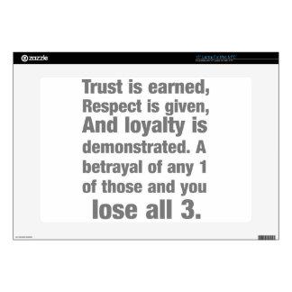 "trust, loyalty, respect saying 15"" laptop skin"