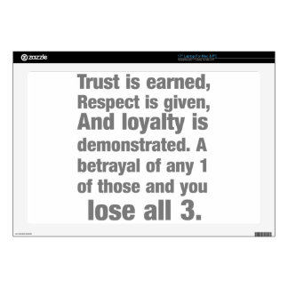 trust, loyalty, respect saying laptop decals