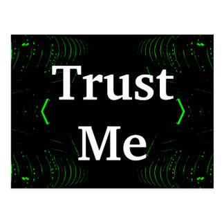 Trust Me Design White on Black Postcard