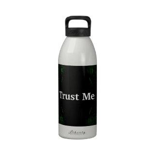 Trust Me Design White on Black Water Bottle