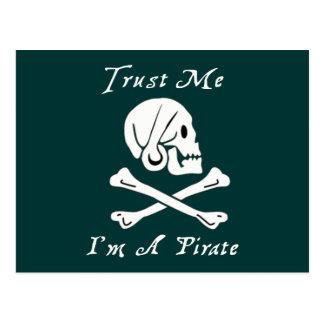 Trust Me I'm A Pirate Postcard