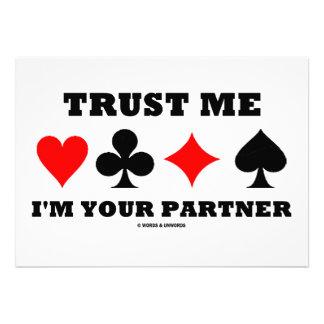 Trust Me I m Your Partner Four Card Suits Custom Announcements