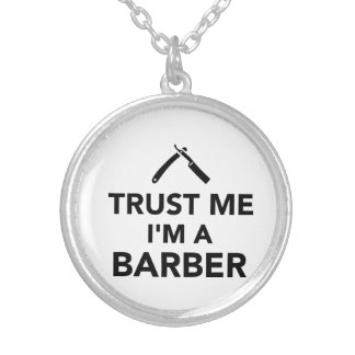 Trust me I'm a Barber Silver Plated Necklace