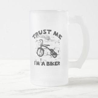 Trust Me Im A Biker Kids Frosted Glass Beer Mug