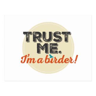 Trust me. I'm a Birder! Emblem Postcard