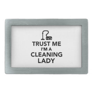 Trust me I'm a cleaning lady Rectangular Belt Buckle