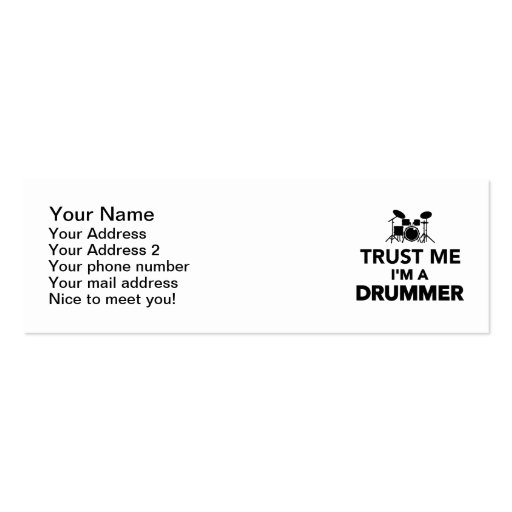 Trust me I'm a Drummer Business Card Template