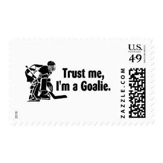 Trust Me Im A Goalie (Hockey) Stamp