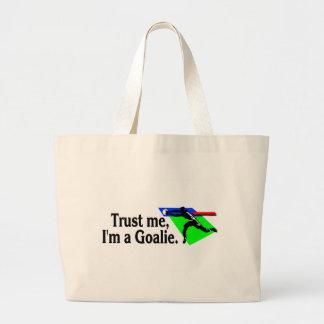 Trust Me Im A Goalie (Soccer) Large Tote Bag