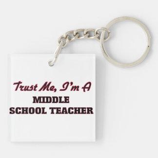 Trust me I'm a Middle School Teacher Square Acrylic Keychain