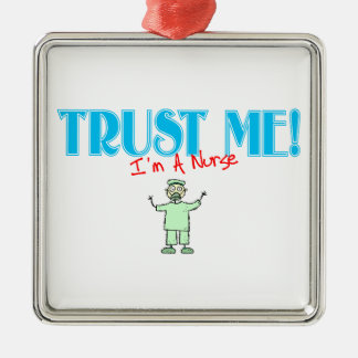 Trust Me I'm A Nurse In Green Scrubs Christmas Metal Ornament
