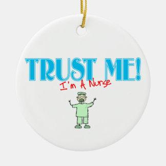 Trust Me I'm A Nurse In Green Scrubs Christmas Ornament
