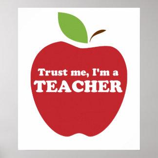 Trust Me, I'm a Teacher Red Apple Poster