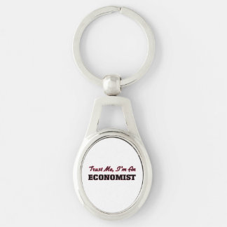 Trust me I'm an Economist Silver-Colored Oval Metal Keychain