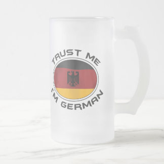 Trust Me I'm German Frosted Glass Beer Mug