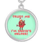 Trust Me I'm Santa's Helper Funny Tshirt Necklace