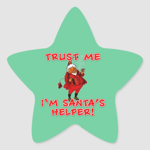 Trust Me I'm Santa's Helper Funny Tshirt Star Sticker