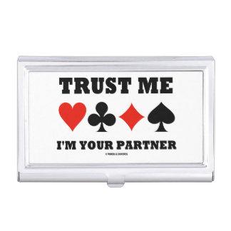 Trust Me I'm Your Partner (Bridge Four Card Suits) Case For Business Cards