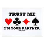 """Trust Me I'm Your Partner (Four Card Suits) 5"""" X 7"""" Invitation Card"""