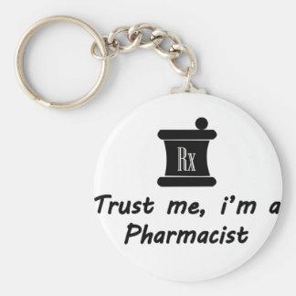 Trust me m a Pharmacist Basic Round Button Keychain
