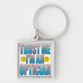 Trust Me Optician Life B Silver-Colored Square Keychain