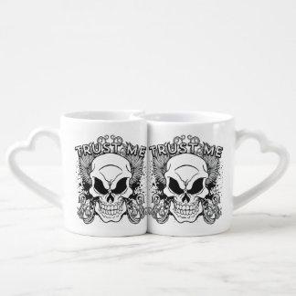 Trust Me Smiling Skull and Wings Coffee Mug Set