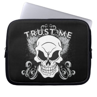 Trust Me Smiling Skull and Wings Laptop Sleeve