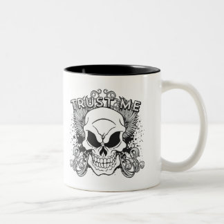 Trust Me Smiling Skull and Wings Two-Tone Coffee Mug