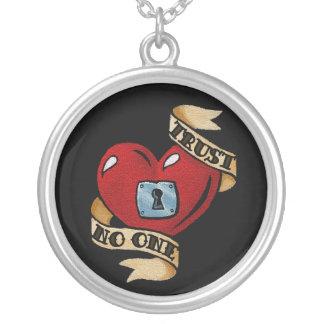 Trust No One Round Pendant Necklace