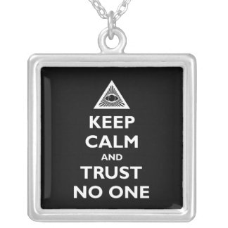 Trust No One Square Pendant Necklace
