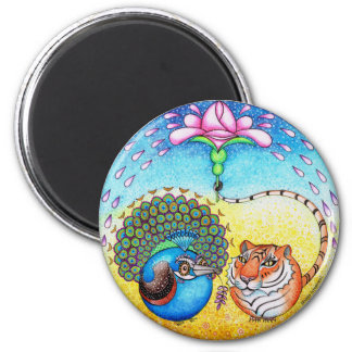 'Trust' Peacock and Tiger 2 Inch Round Magnet